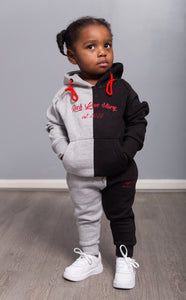 Pre-Order Rich Love $tory Signature Split Toddlers Tracksuits(Black&Grey)