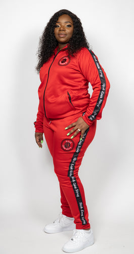 Rich Love $tory Red Polyester Fleece Track Suit (Women)