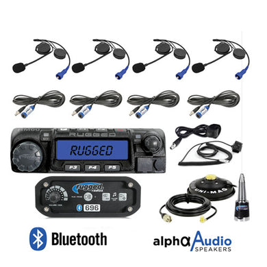 Rugged Radios RRP696 4-Place Intercom w/ 60 Watt Radio and Alpha Audio Helmet Kits