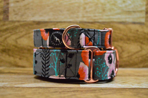 Zinnia Rose Gold Floral Dog Collar