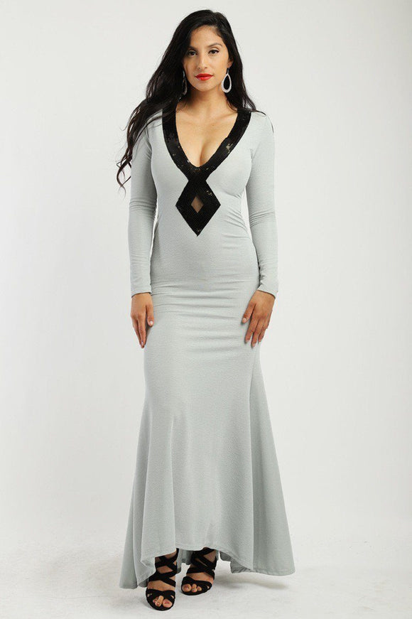 Solid, Long Elegant Dress