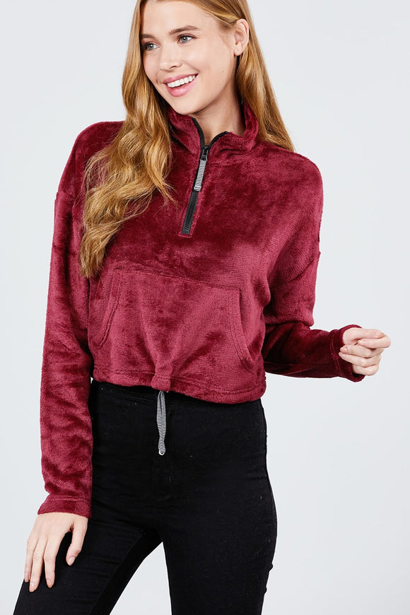 Long Dolman Sleeve Mock Neck W/zipper Detail Kangaroo Pocket Bottom W/stopper - Mother Filter LLC