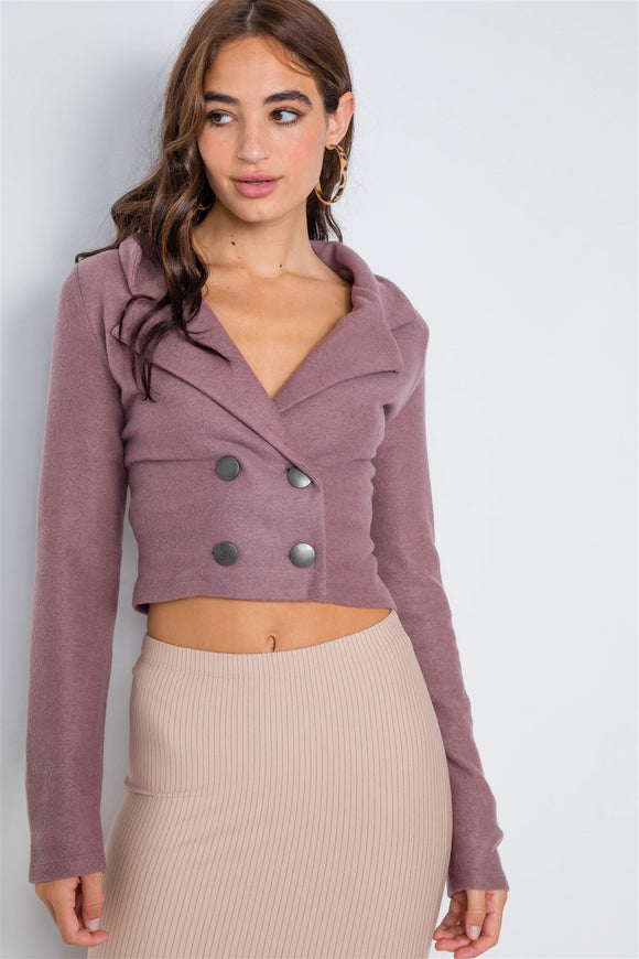 Double Breasted Peacoat Crop Jacket - Mother Filter LLC