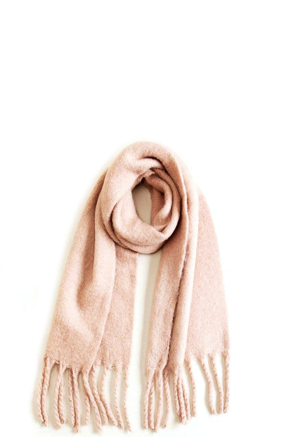 Solid Scarf With Chunky Fringe - Mother Filter LLC