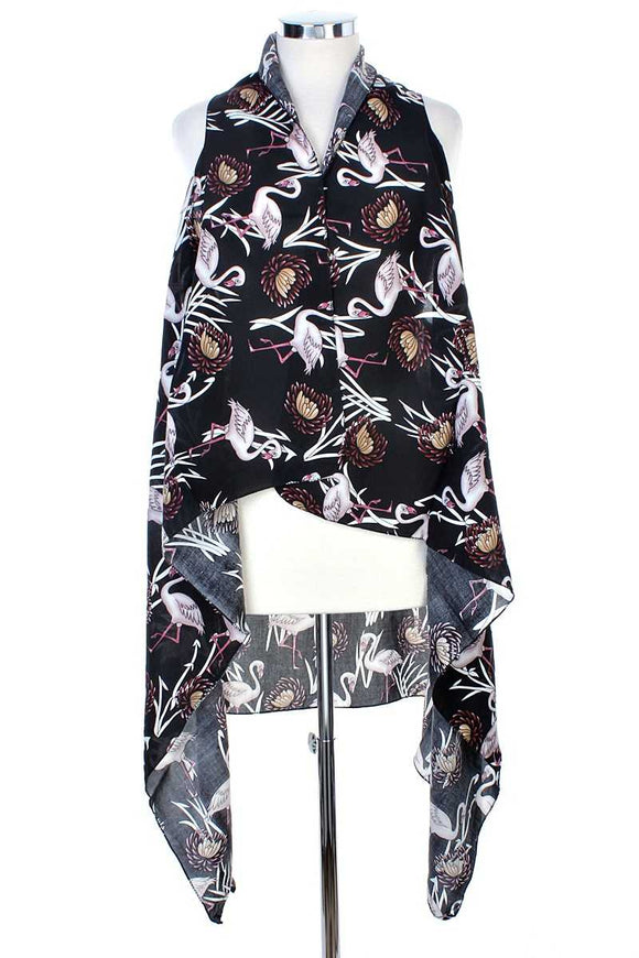 Draped Flamingo Printed Vest - Mother Filter LLC