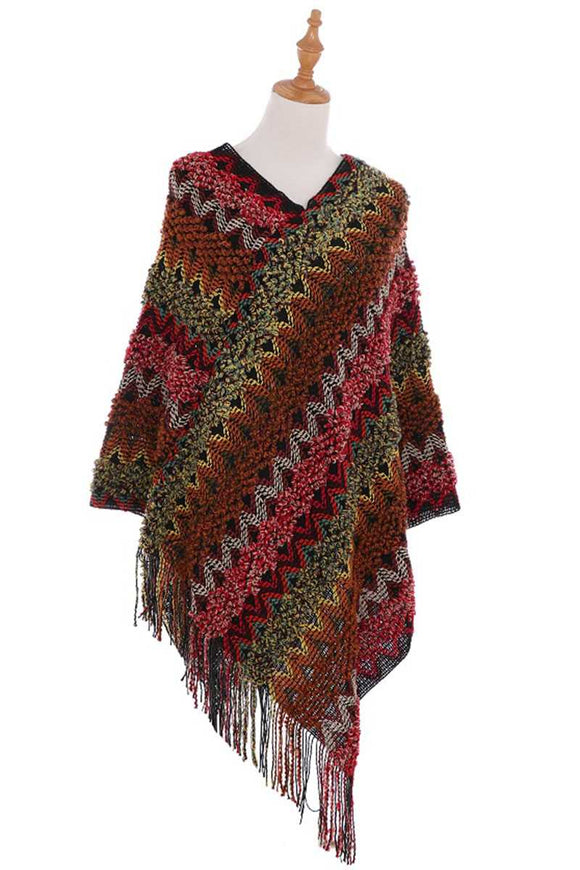 Knitted Multi Color Fringe Cape Poncho - Mother Filter LLC