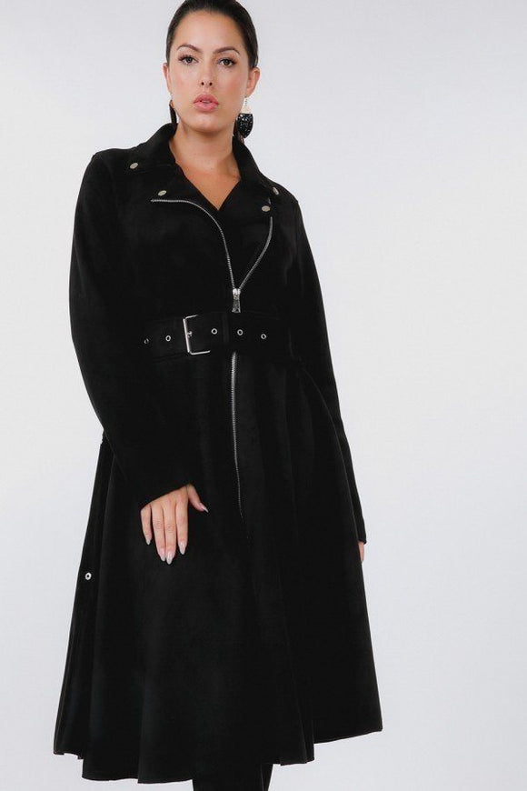 Waist Belt Tacked Faux Suede Coat - Mother Filter LLC