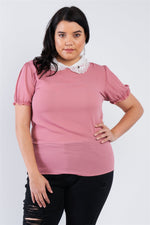 Load image into Gallery viewer, Plus Size Chiffon Embellished Peter Pan Collar Top