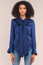 Load image into Gallery viewer, Victorian Indigo Blue Satin Long Sleeve Self-tie Collar Button Down Gathered Blouse