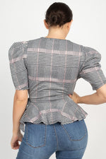 Load image into Gallery viewer, Plaid Front Wrap Puff Sleeve Top