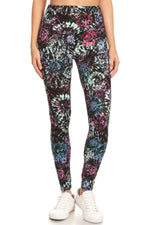 Load image into Gallery viewer, 5-inch Long Yoga Style Banded Lined Tie Dye Printed Knit Legging With High Waist.