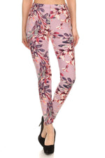 Load image into Gallery viewer, Floral Printed High Waisted Knit Leggings In Skinny Fit With Elastic Waistband