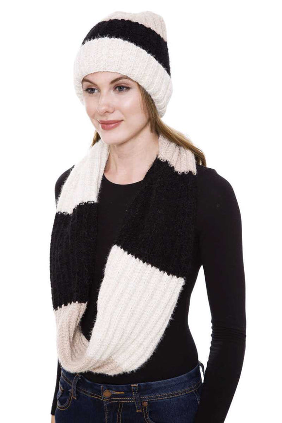 Stripe Pattern Infinity Scarf And Knit Hat Set - Mother Filter LLC