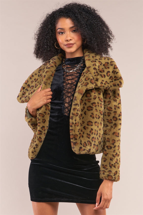 Green Leopard Print Faux Fur Open Front Oversized Collar Jacket