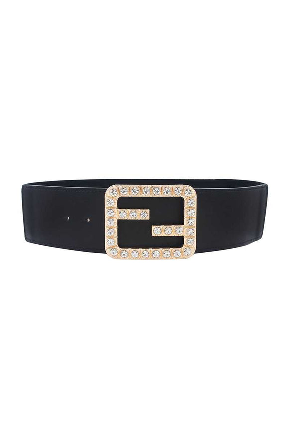 2 FB Rhinestone Buckle Elastic Belt