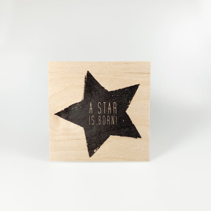 "Holzpostkarte ""A star is born!"""
