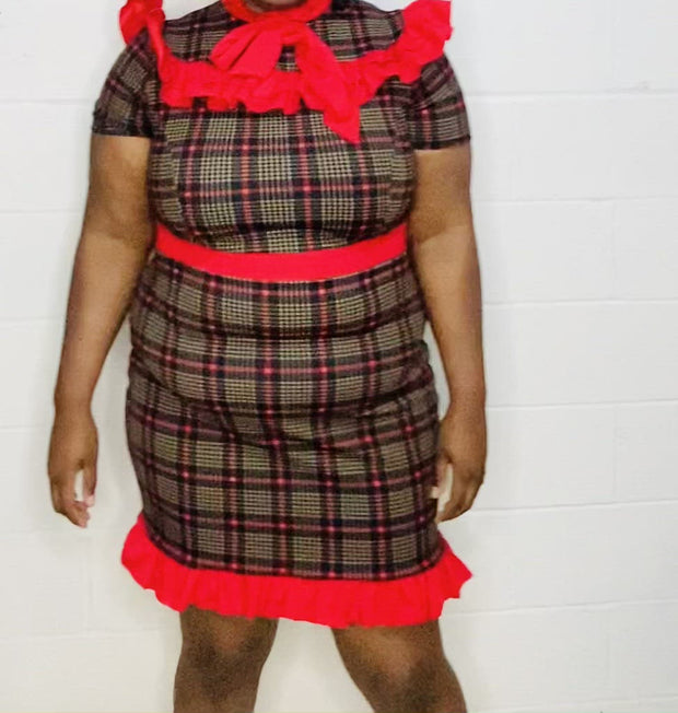 plus size houndstooth dress