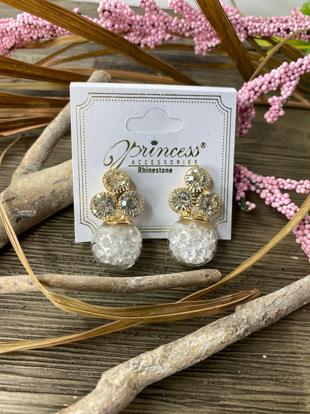 clear gold rginestone earring