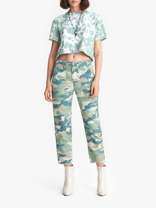 MOTHER THE SHAKER CHOP CROP IN BLUE GREEN CAMO