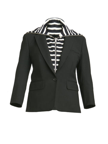 Veronica Beard Black Schoolboy Jacket w/ White and Navy Striped Beach Dickey