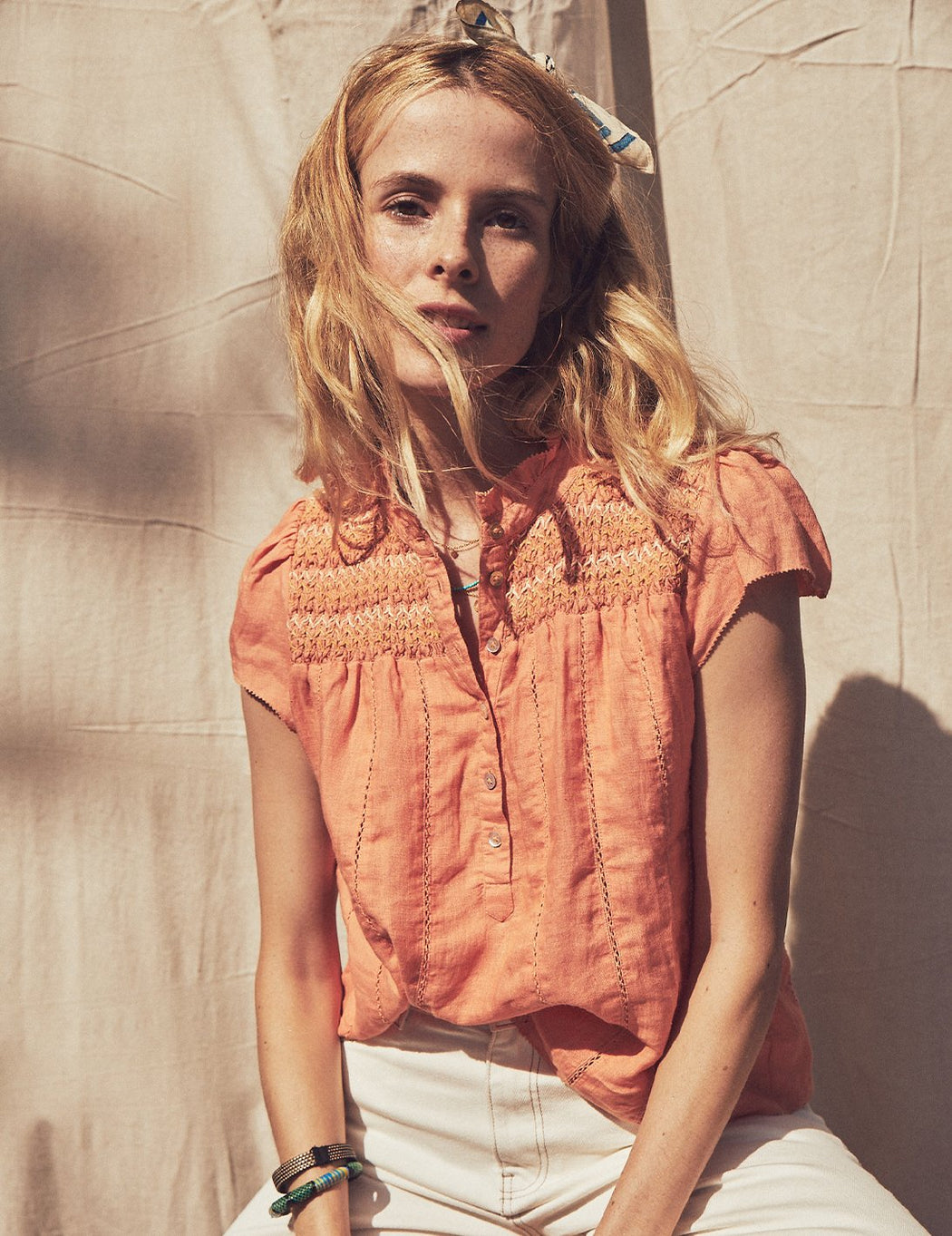 Faherty Kaia Embroidered Linen Top