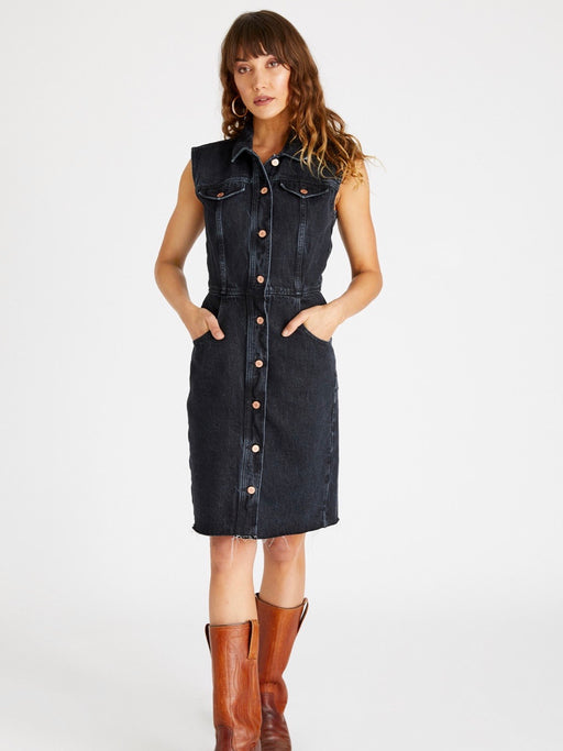 Etica Jori Sleeveless Denim Dress in Obsidian