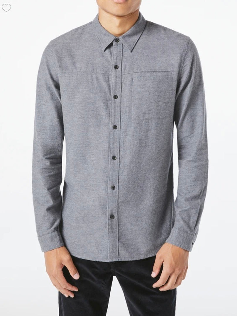 Frame Men's Long Sleeve Slim Utilitarian Shirt in Charcoal Heather