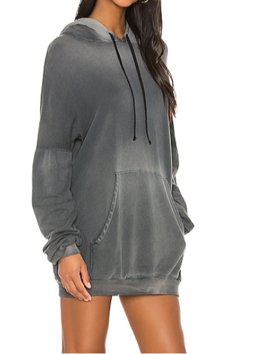 Michael Lauren Brayden Hoodie Mini Dress in Faded Graphite