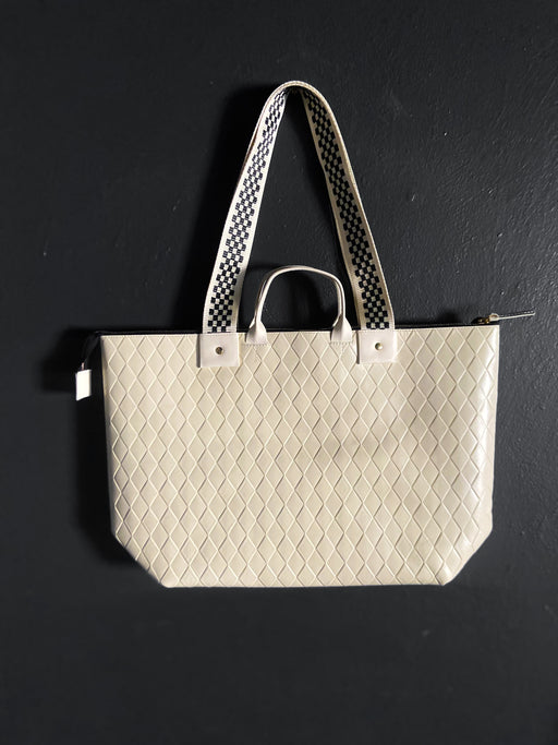 Clare V. Le Zip Sac in Cream Diamond