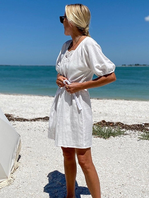 Emerson Fry Rosemary Dress in White Double Gauze