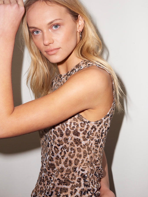 LNA Burnout Asymetric Sleeveless Top in Leopard