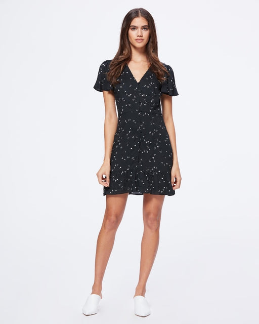 PAIGE ROSELLA DRESS IN BLACK FALLING FLORAL