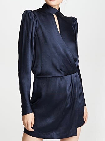 Frame Keyhole Neck Long Sleeve Hammered Silk Minidress In Navy