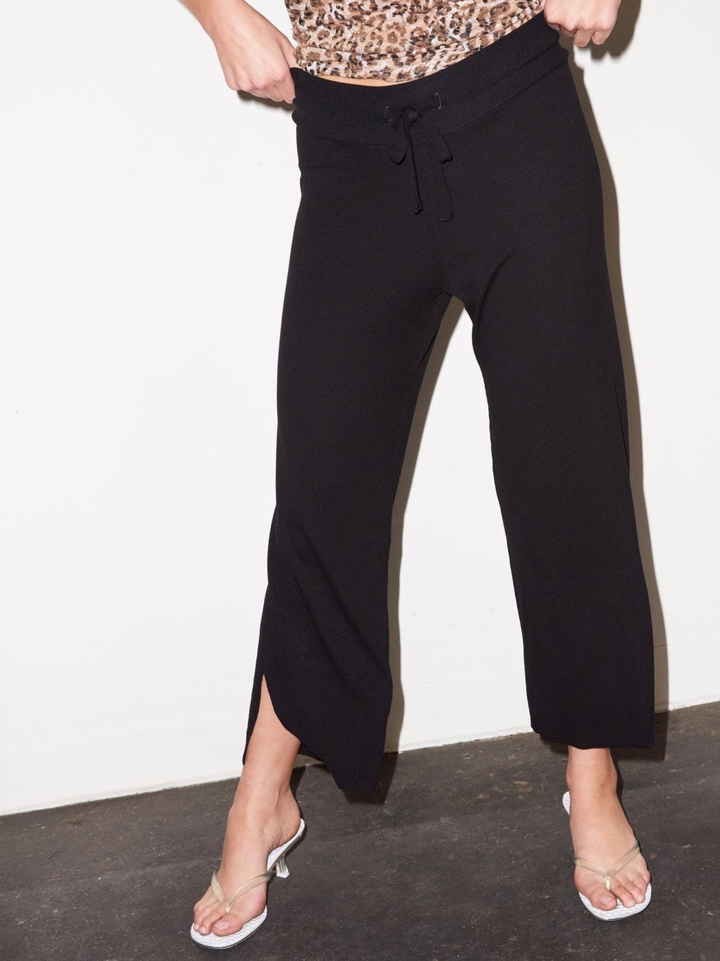 LNA Bianca Ribbed Pant in Black