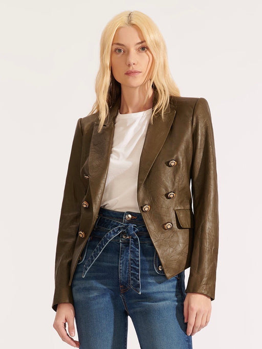 Veronica Beard Cooke Dickey Jacket in Olive Lamb Leather