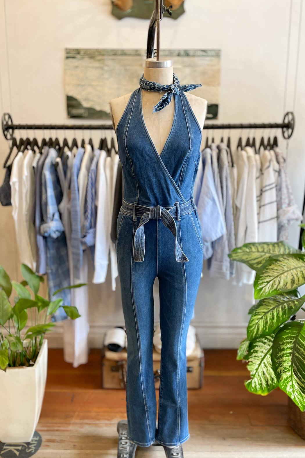 Mother Denim Halter Hustler Jumpsuit Ankle in A Groovy Kind Of Love