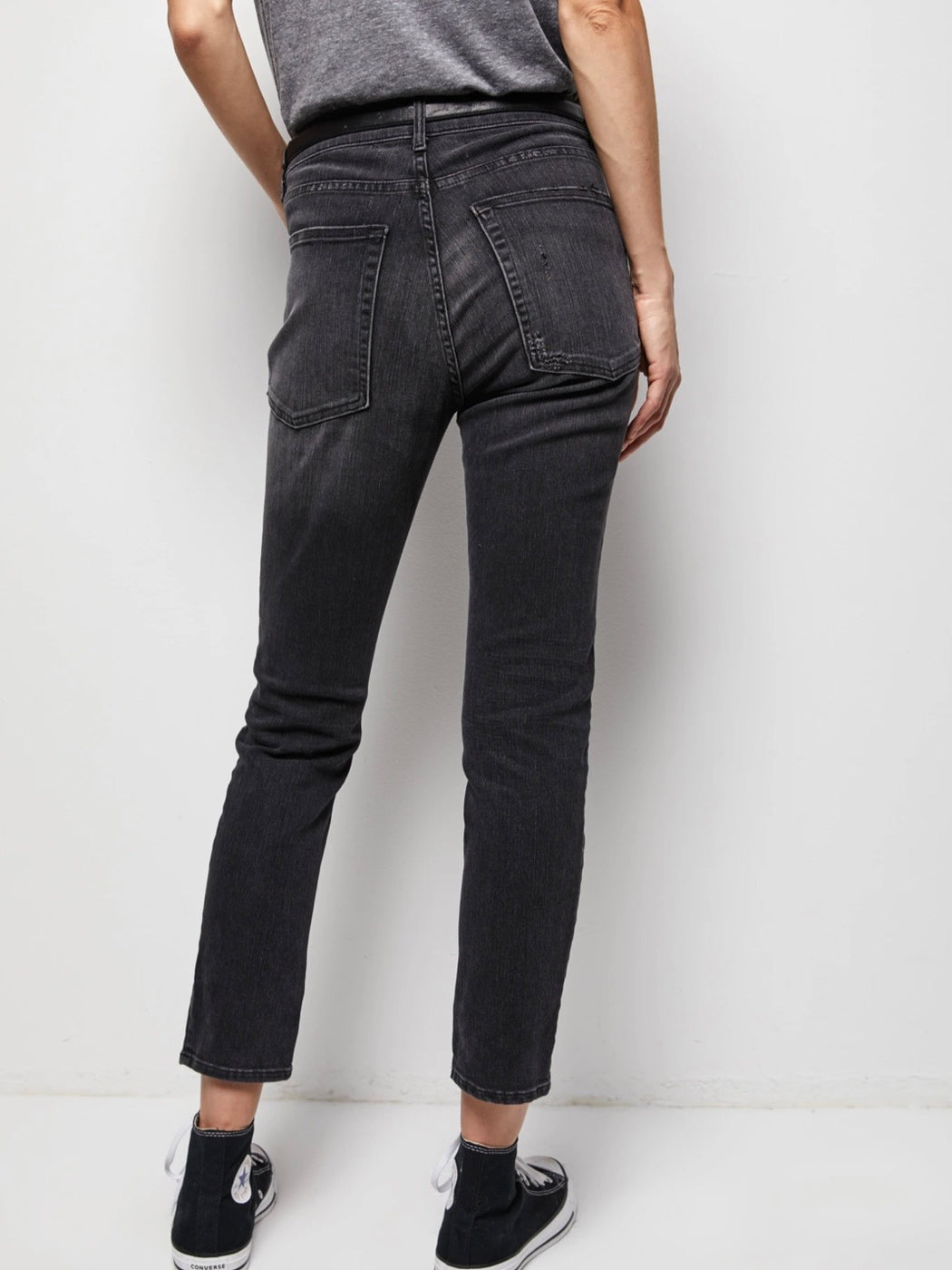 Nili Lotan Mid Rise Jean in Distressed Black with Finished Hem