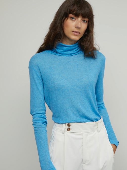 Closed Lyocell & Wool Turtleneck Shirt in Heaven