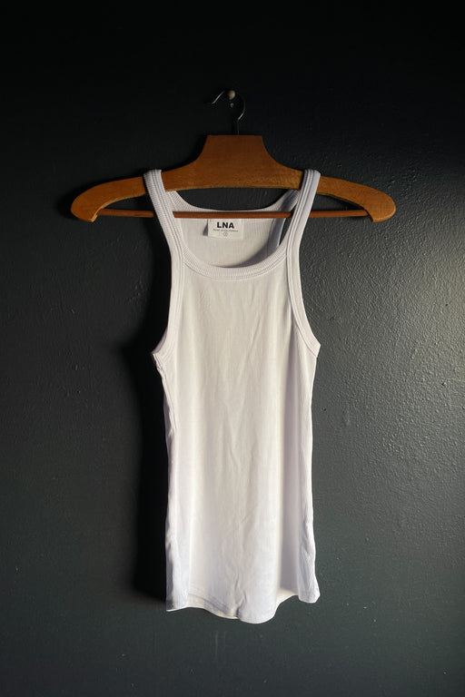 LNA Ribbed Skinny Racer Tank in White