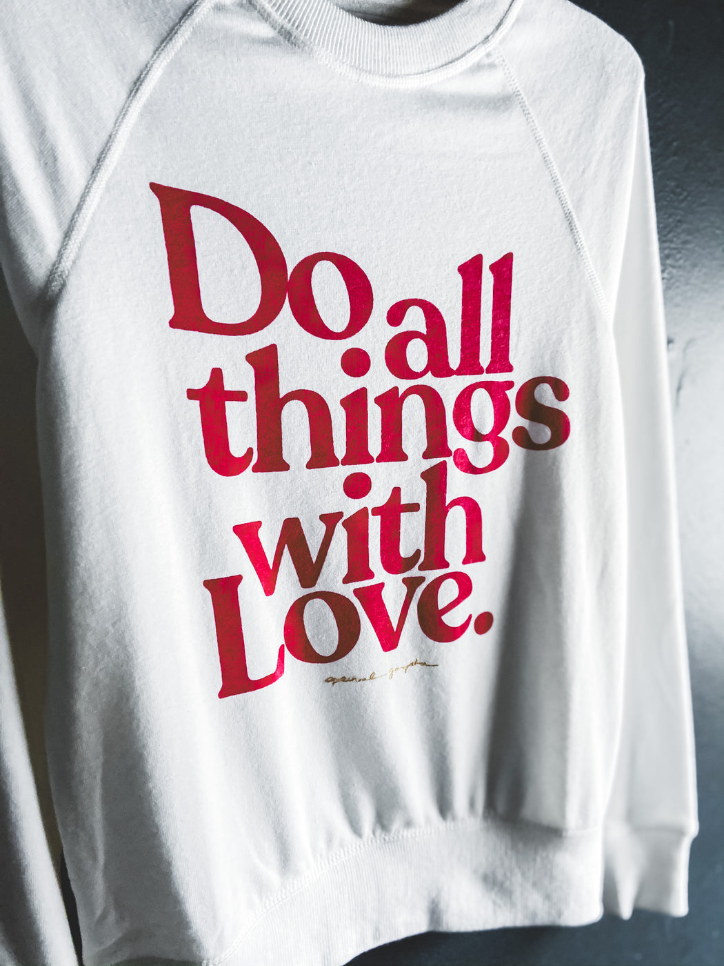 Spiritual Gangster Do All Things With Love Pullover in Stone