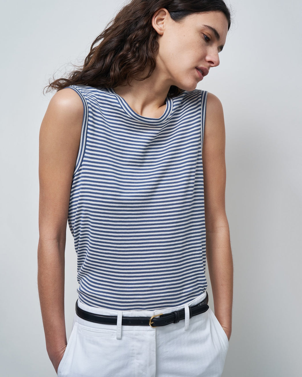 Nili Lotan Muscle Tee in Sailor Blue with White Stripe