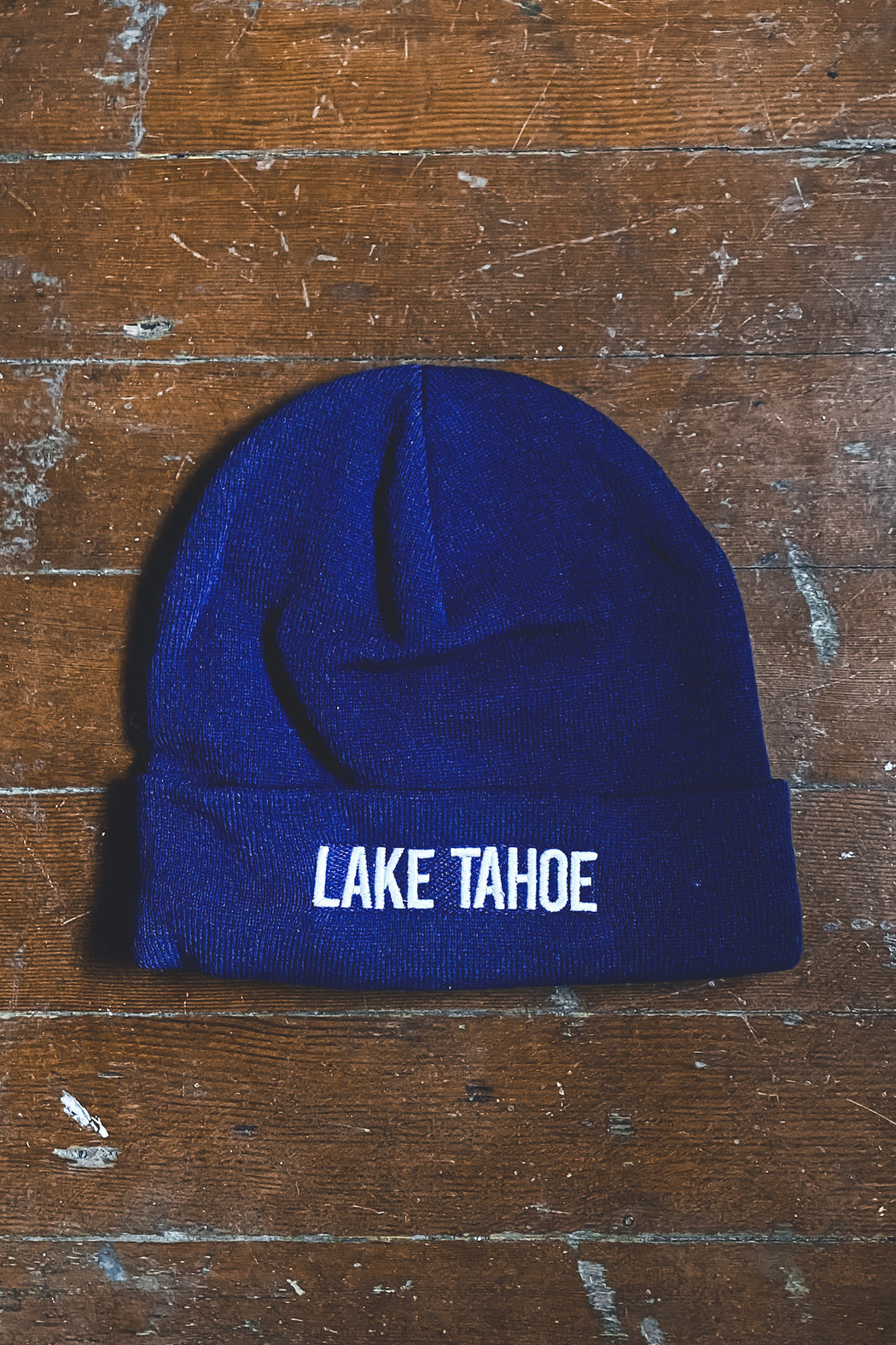Tahoe Soul Lake Tahoe Embroidered Beanie in Blue