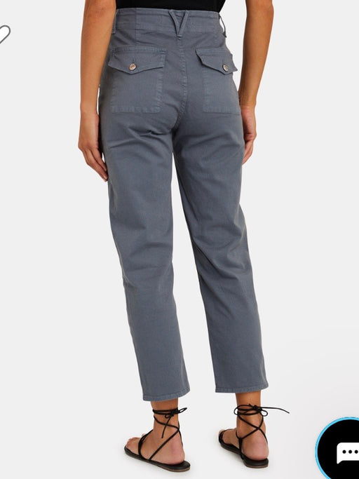 Veronica Beard Arya Cargo Straight Pants in Slate