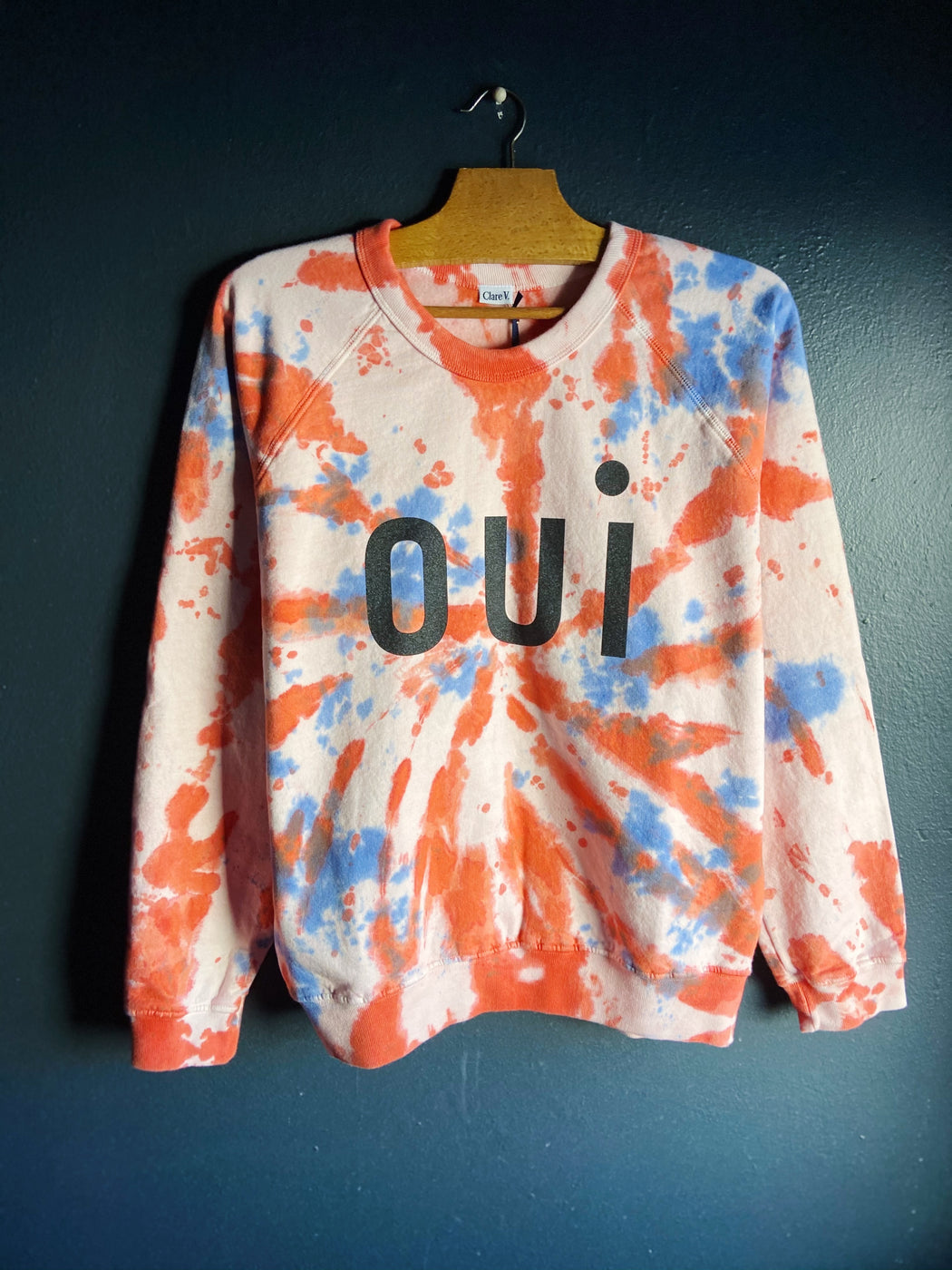 Clare V. Tie Dye Oui Long Sleeve Sweatshirt in Blush