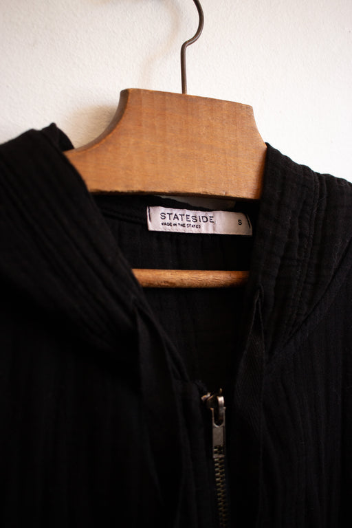 Stateside Cropped Hood Zip-Up in Black