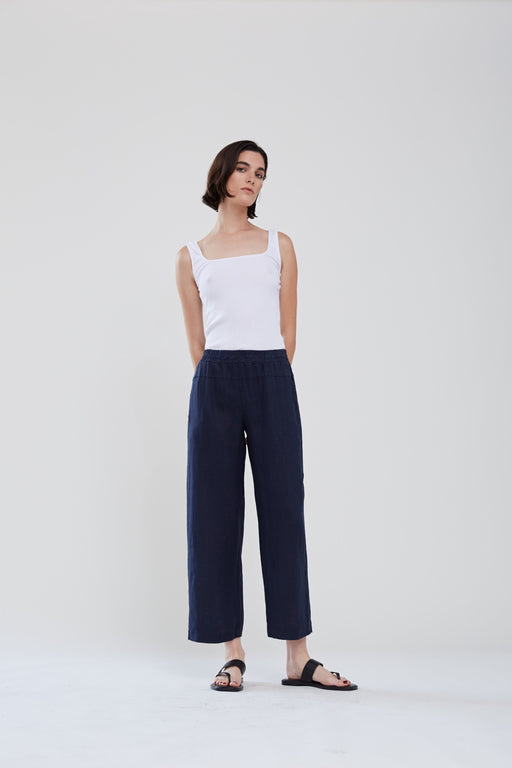 Stateside Linen Wide Leg Pant in Navy