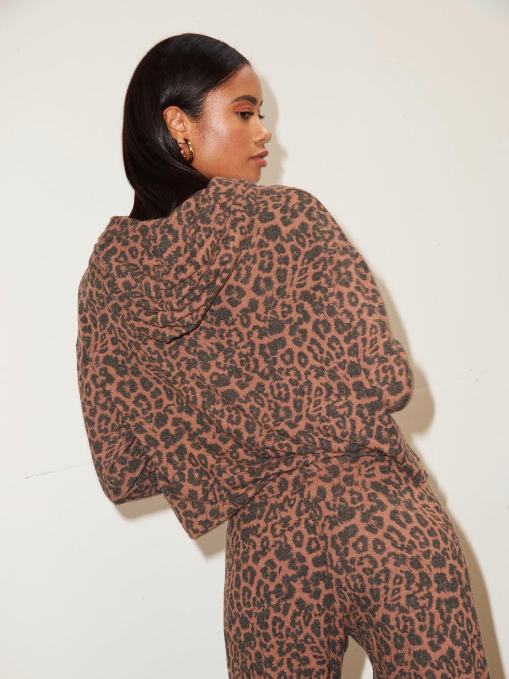 LNA Brushed Hoodie in Chestnut Leopard