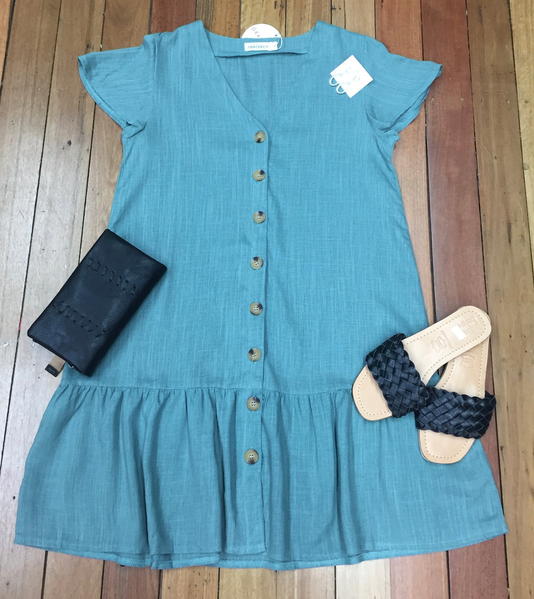 Dreamy Button Dress Blue