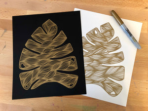 Monstera Leaf Gold Art Print