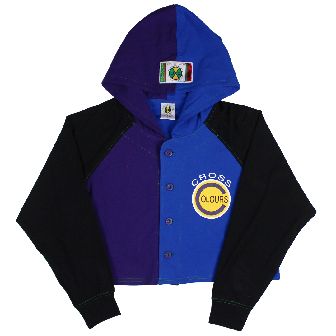 Cross Colours Color Block Baseball Crop Jacket - Purple/Blue